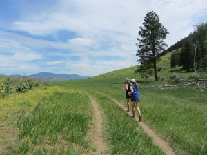 Running with a friend at the top of the Methow